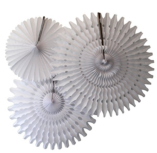 Set of 3 Honeycomb Tissue Fans, White (13-21 Inch) -
