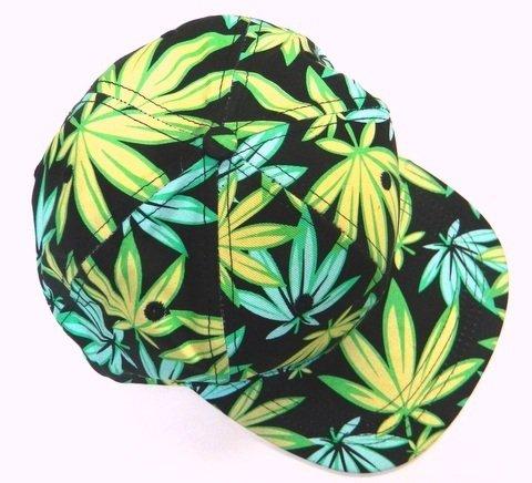 Weed-snapback-Print-Marijuana-Cannabis-Bucket-Fisherman-Baseball-Hat-Hemp-Green-Leaf-Cap-Maui-Kush-GreenBlack