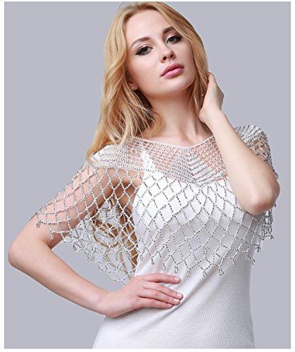 HENGSONG Women Ice Silk Thread Hollow Crochet Sequin Beaded Beach Tops Short Shirt Blouse (White 2#)