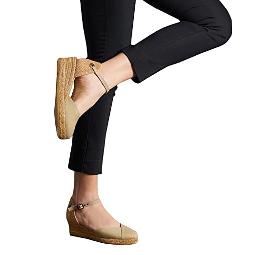 602c1a88a6a86 Pxmoda Womens Summer Espadrille Wedge Sandals Fashion Strap Buckle Suede  Platform Shoes