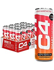 C4 Smart Energy Drink - Sugar Free Performance Fuel & Nootropic Brain Booster with No Artificial Colors or Dyes   Peach Mango Nectar 12 Oz - 12 Pack