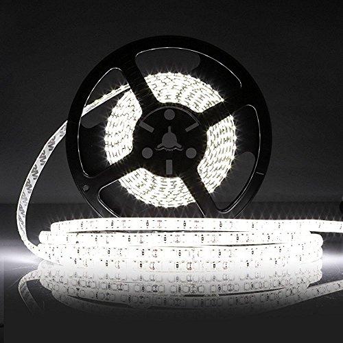 LEDMO Waterproof SMD2835 15lm CRI80 600 LED Strip Light, White (6000K) by LEDMO