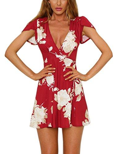 FFLMYUHULIU Women's Deep V-Neck Short Sleeve Flare Asymmetric Print Float Short Mini Dress (005jiuihong, S)