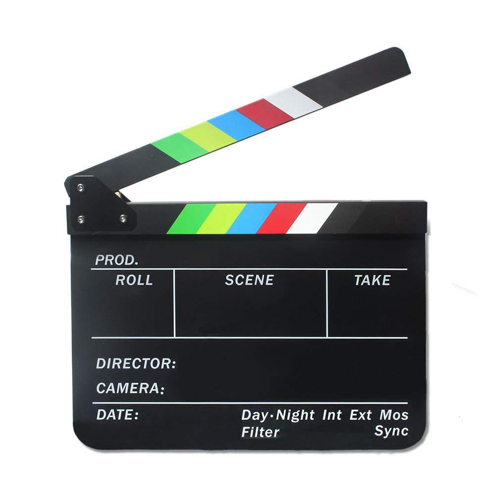 Acrylic Plastic Clapboard Dry Erase Director TV Film Movie Slate Cut Action Scene Clapper Board Slate 12''x10'' / 30cmx25cm with Color Sticks and 1 Pen (Black-Color)