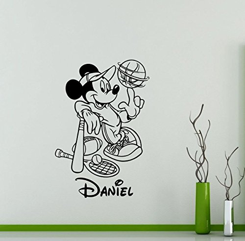 Cool Disney Names (Personalized Custom Mickey Mouse Wall Decal Sport Nursery Custom Baby Name Cartoon Disney Vinyl Sticker Personal Home Nursery Room Interior Art Decor Kids Girl Boy Room Mural Vinyl Sticker (85ct))