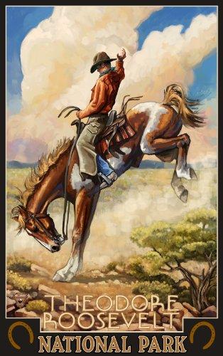 Northwest Art Mall Theodore Roosevelt National Park North Dakota Bucking Horse Poster, 11-Inch by - Roosevelt Mall