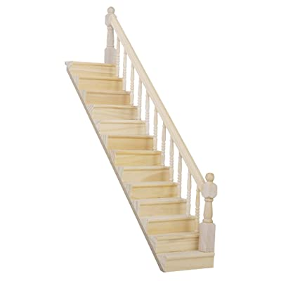 Gold Wing 1:12 Dollhouse Miniature Pre-Assembled Wooden Staircase Stair Step with Right Handrail: Toys & Games
