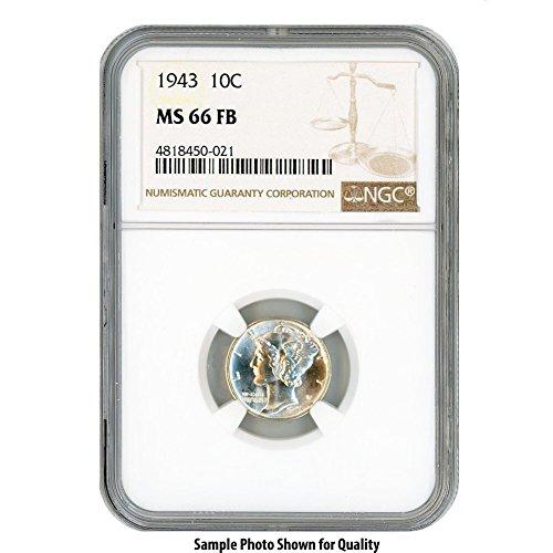 1943 Silver Mercury Dime 10¢ MS66FB NGC - Ngc Dimes