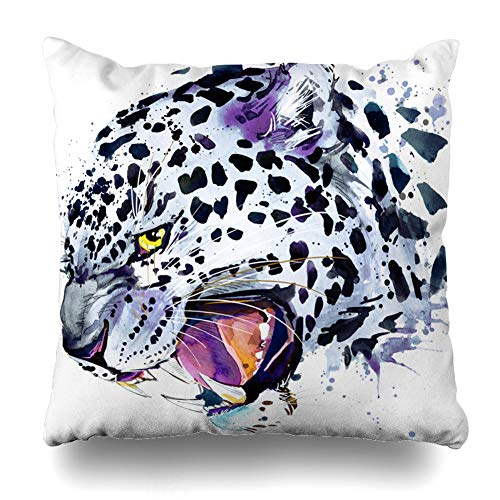 (Ahawoso Throw Pillow Cover Graphics Watercolor Cat Snow Leopard Blue Pencil Jaguar Funny Lion Baby Holiday Design Home Decor Cushion Case Square Size 18
