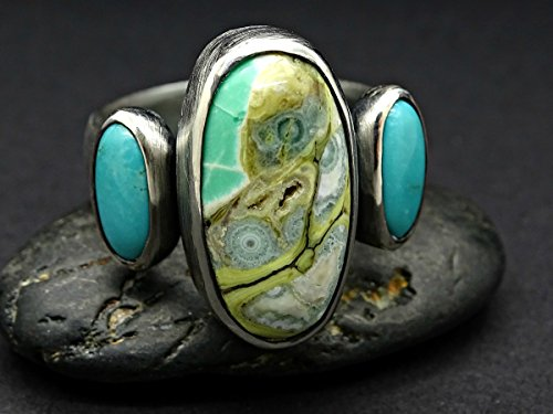 big cluster ring mens statement ring, Clay Canyon variscite ring turquoise ring black silver, rare gemstone ring, mens silver ring variscite ()