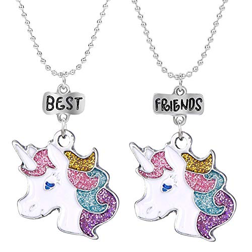 OAONNEA 2 PCS Unicorn Best Friend Necklace Set for Girls Kids (Unicorn-1)