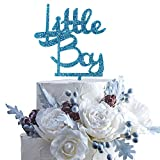 Little Boy Blue Glitter Acrylic Cake Topper Celebrate Baby Shower First year/month Birthday Party Decoration.