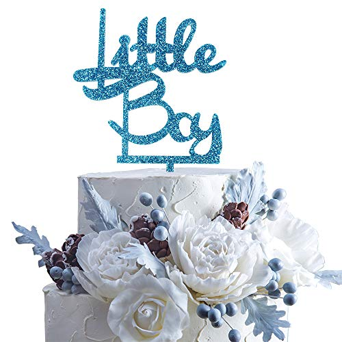 (Little Boy Blue Glitter Acrylic Cake Topper Celebrate Baby Shower First Year First Month Birthday Party)