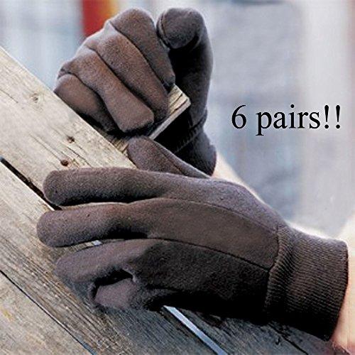 Discount (6) Economy Jersey Work Gloves Garden Basement Outdoor DARK BROWN 1 Size RM1496 for sale