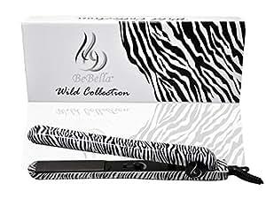 "Bebella Luxury Wild Collection: Professional 1.25"" Pure Onyx Ceramic Plates Hair Straightener Flat Iron (Classic Zebra)"