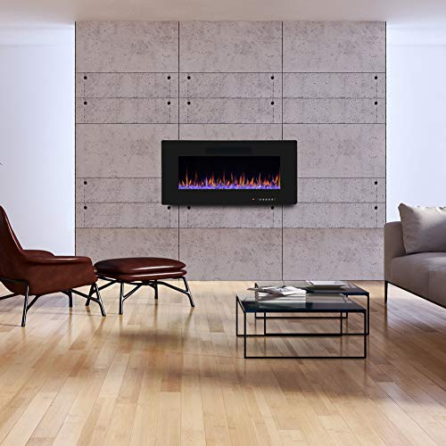 R.W.FLAME 36 Electric Fireplace, Recessed Wall Mounted and In-wall Fireplace Heater, Fit for 2 x 4 and 2 x 6 Stud, Remote Control with Timer,Touch Screen,Adjustable Flame Color and Speed, 750-1500W