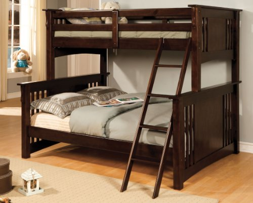 Furniture of America Concord Bunk Bed, Twin/Full, Dark Oak
