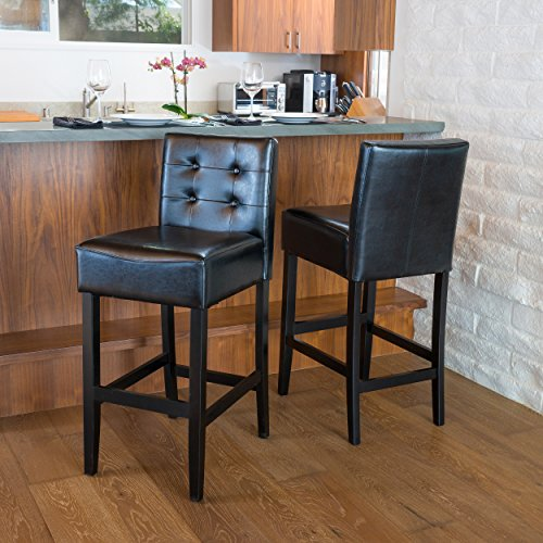 Gregory Black Tufted Leather Back Bar Stool (Set of 2) (Tufted Leather Bar Stool)