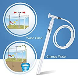 Fish Tank Cleaner, Aquarium Fish Tank Gravel Sand Cleaner Aquarium Vacuum Siphon Water Filter With Aquarium Thermometer by IN HAND