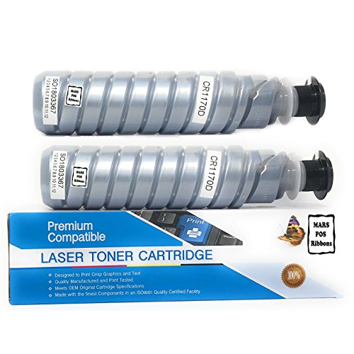 Gestetner Color Printers - MARS POS Ribbons Compatible Ricoh 888260 Type 1170D Black 2 Pack Replacement Laser Toner Cartridge for Ricoh Aficio Gestetner Lanier Savin Printer Series