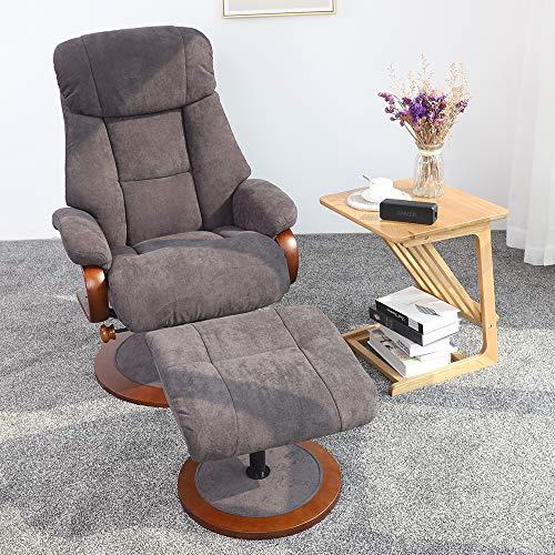 Irene House Ergonomic Brush Fabric Lounge Armchair Recliner and Ottoman Set,for Home Office Living Room (Deep Auburn)