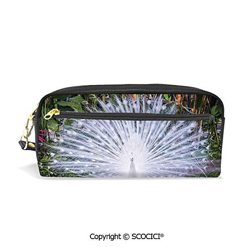 Printed Pencil Case Large Capacity Pen Bag Makeup Bag Peacock Open His Tail Feathers in Tropical Garden Unusual Birds Nature Ornament for School Office Work College Travel ()