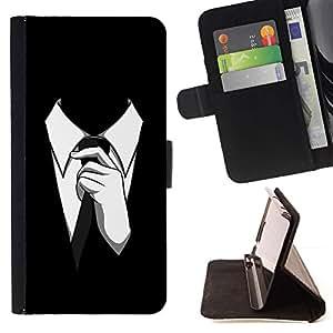 Momo Phone Case / Flip Funda de Cuero Case Cover - Traje del lazo del hombre del estilo de vestimenta formal Negro Blanco - Samsung Galaxy S6 EDGE