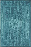 Living Room Area Rug, Teal Vintage Distressed Dining Room Contemporary Traditional Cotton & Polyester Flatwoven Carpet, 2′ x 3′