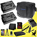 Two Halcyon 1500 mAH Lithium Ion Replacement Battery and Charger Kit + 32GB SDHC Class 10 Memory Card + Original Panasonic Lumix DMC-FZ70 Carrying Case for Panasonic Lumix DMC-FZ70 Digital Camera and Panasonic DMW-BMB9