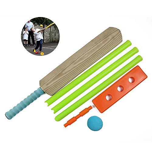 FOONEE Cricket Set, Kids Safe Toy Plastic Cricket Ball Bat, NBR Foam Elastic Ball, Bats Balls Stumps for Indoor & Outdoor Garden Play Set