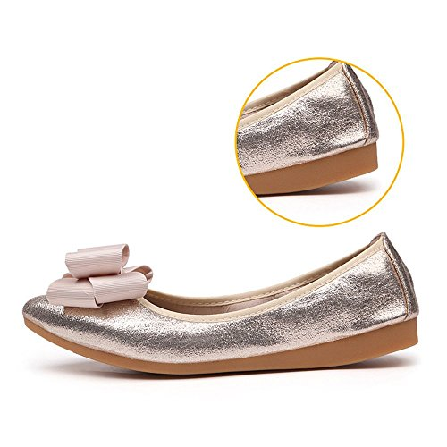 Dress Ballet Pointed Foldable Rhinestone Wedding Slip On 6 Shoes Misab Pink Flats Women XwqfBnxtz