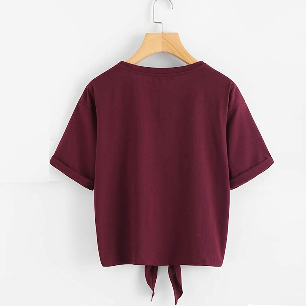 iDWZA Womens Casual Soild Cat Print Short Sleeve Tie Up Daily Tee Blouse T-Shirt Tops