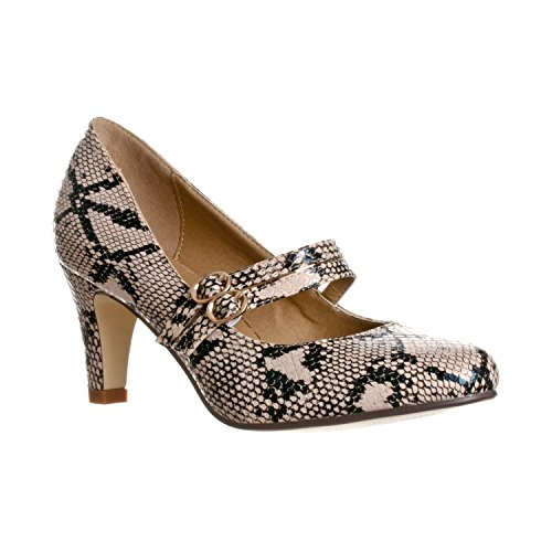 Riverberry Women's Mila Chunky, Mid Heel Mary Jane Pump Heels, Beige Python, 9