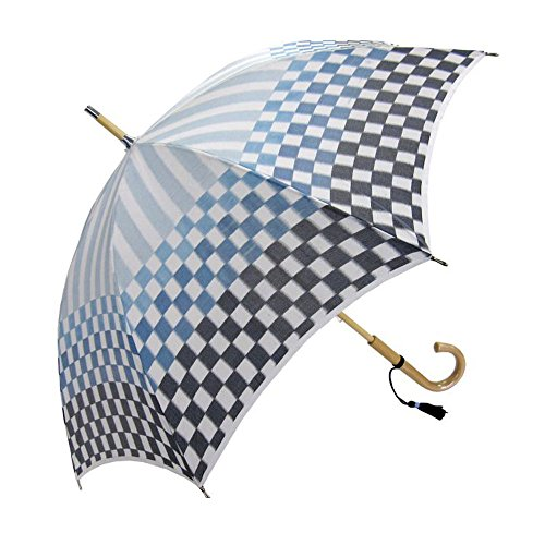 Made in Japan Hemp cloth Wooden Stick Umbrella Checkered pattern Indigo Blue Tokyo Olympic by SUEHIRO