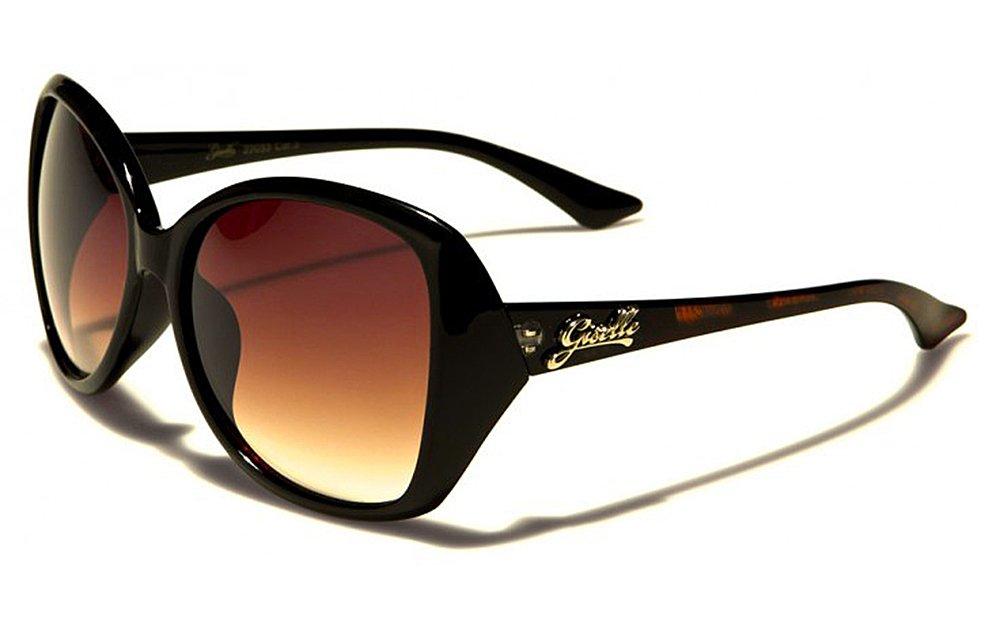 Occhiali da Sole Giselle - Moda - Stile - Fashion - Glamour - Moto - Sci - Spiaggia / Mod. Roma Nero Ambrato