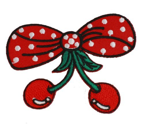 Cherry Peanut Pie (Red Bow With Red Cherry Iron On Patch For Kids Baby - High)