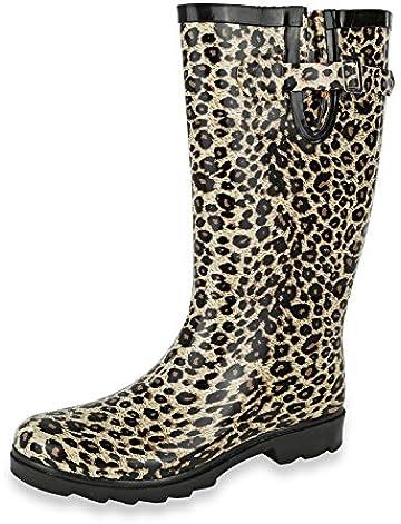 AccessoWear Women's Leopard Rain Boots - Size 5 B (M) US