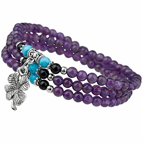 TUMBEELLUWA Prayer Beads Stone Bracelets for Women, Stretchy Multilayer Bracelet with Leaf Clover Lucky Charms, Amethyst