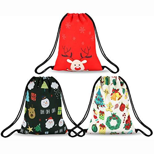 (Beatuiphone Christmas Drawstring Bag Santa Claus Gingerbread Man Elk Pattern Santa Sack Stocking Gift Present-3 Pack)