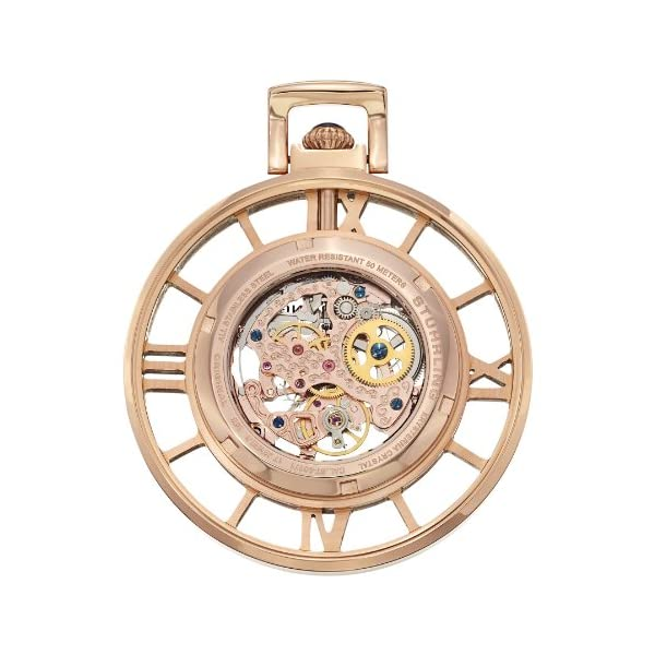 Stuhrling-Original-71303-Special-Reserve-Montres-de-Poche-Ancestor-Skeleton-Rose-Tone-Pocket-Watch