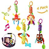 Baby Hanging Rattle Toys, 4 Pieces Newborn Car Crib Hanging Bell,Kids Stroller Handbells