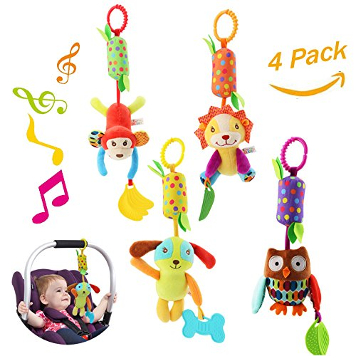 Baby Hanging Rattle Toys, 4 Pieces Newborn Car Crib Hanging BellKids Stroller Handbells PuppetInfant Animal Wind Chime with Teethers for Toddlers/Baby Girls/Baby Boys