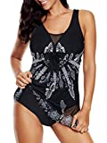 Plus Size Bathing Suits for Women Swimsuits Tummy Control Athletic One Piece Swimdress Flowy Skirt Mesh Dress Black 14-16