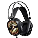 Picozon 3.5mm Comfortable Over-Head Gaming Headset, with LED Lighting, Stereo Surround Sound for PS4, XBox, Computer, Laptop, iPad, Surface, Smartphone - Black