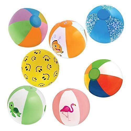 Inflatable 12'' Beach Balls (18-Pack) - 8 Rainbow Beach Balls, 10 Designer; Birthday Party Favors