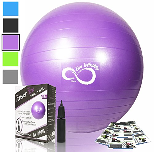 Exercise Ball -Professional Grade Anti Burst Tested with Hand Pump- Supports 2200lbs- Includes Workout Guide Access- 55cm/65cm/75cm/85cm Balance Balls (Purple, 75 cm)