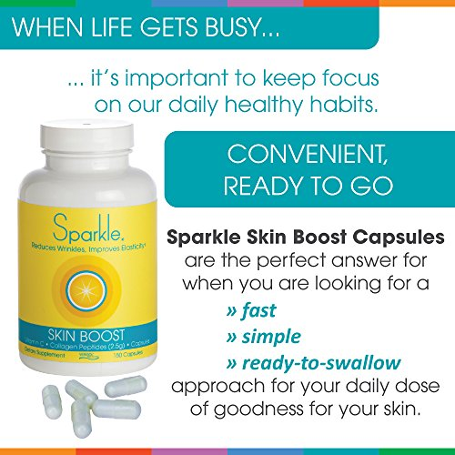 Sparkle Collagen Peptide Supplement Capsules 30 days Pills 2500mg featuring Verisol Bioactive Collagen Peptides,150 capsules by Sparkle Collagen (Image #6)