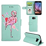 Samsung Galaxy S6 Edge Case, Ailisi [Pink Flamingo] Leather Wallet Flip Phone Case Magnetic Cover with TPU Inner, Shock-Absorption Protective Case with Card Slots, Stand Function(Mint Green)