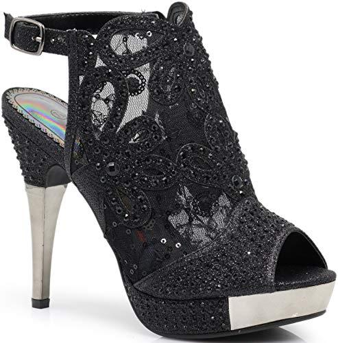 Enzo Romeo Angie15 Womens Open Toe High Heel Wedding Rhinestone Mesh Sling Back Sandal Wedge Shoes (7.5, Black) - Mesh Wedge Sandals