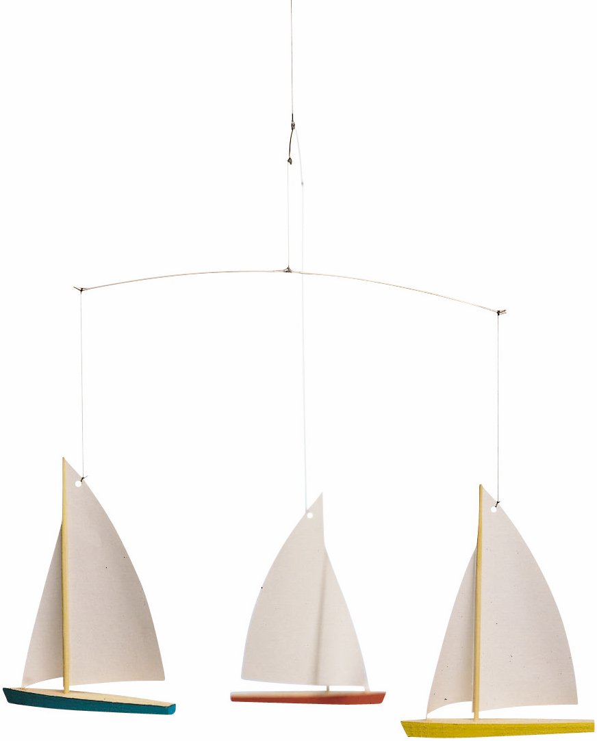 Flensted Mobiles Dinghy Regatta/3 Hanging Mobile - 15 Inches Beech Wood f026